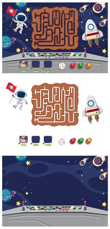 Set of game template with spaceship and astronaut illustration