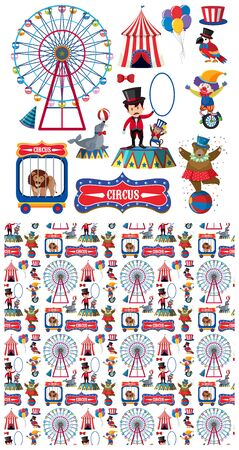 Seamless background design with circus animals illustration