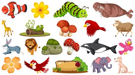 Set of many kinds of animals illustration