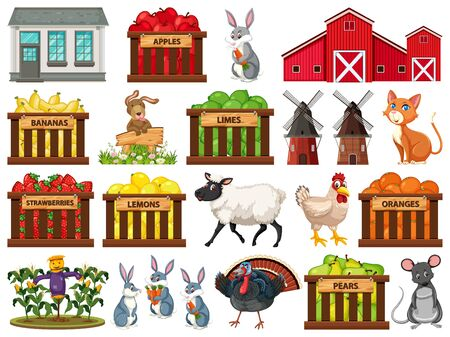 Large set of isolated farm objects illustration 向量圖像