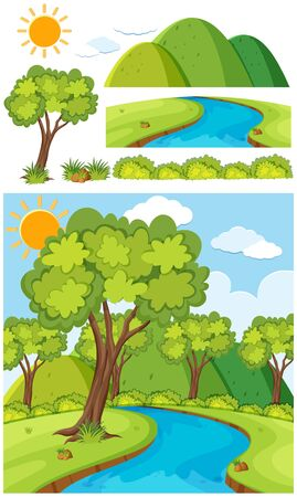 Nature landscape of park with trees and river illustration Stock Illustratie