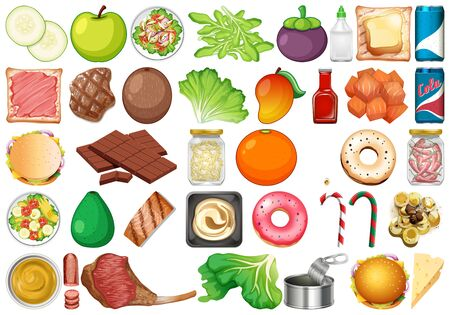 Set of isolated objects theme - fresh vegetables and desserts illustration