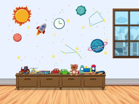 Children room with window and toys illustration Ilustração