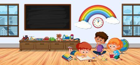 Three kids in children room playing illustration