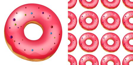 Seamless pattern of donuts on white illustration