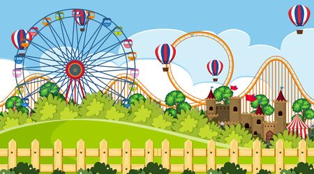 An outdoor scene with funfair illustration