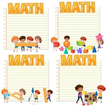 Set of paper template with kids and math illustration