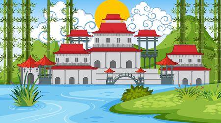 An outdoor scene with Asian castle illustration Standard-Bild - 128690750