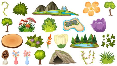 Set of different plants and landforms illustration