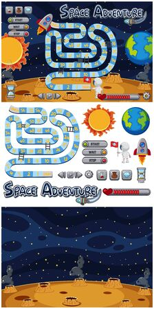 Set of game backgrounds with sun and earth illustration