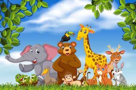 Cute bunch of animals in nature illustration