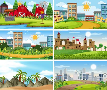 A set of outdoor scene including building illustration