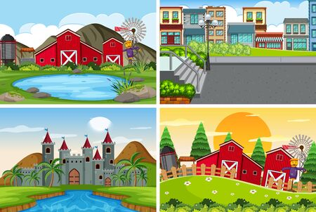 A set of outdoor scene including farm illustration
