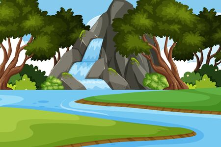 Landscape background design with waterfall in forest illustration Standard-Bild - 128690762