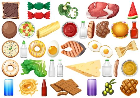 Set of isolated objects theme - food  illustration 向量圖像