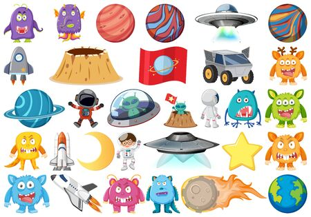 Set of isolated objects theme - astronomy illustration