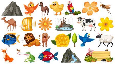 Set of different wild animals on white illustration
