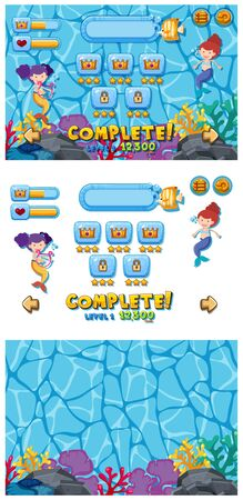 Set of game template with mermaids underwater illustration