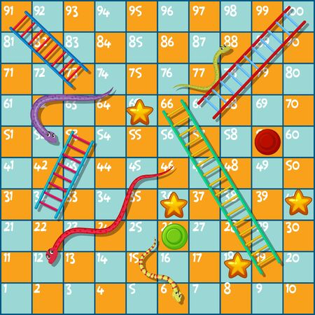 Boardgame design template with snakes and ladder illustration