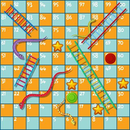 Modello di design del gioco da tavolo con serpenti e illustrazione della scala