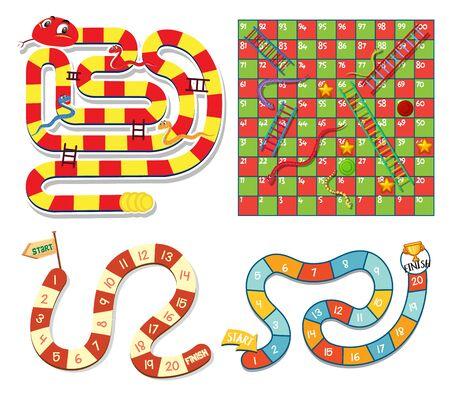 Boardgame design template in four designs illustration Illustration