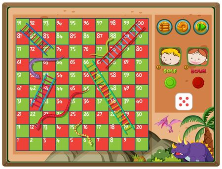 Snakes and ladders game with triceratops background illustration
