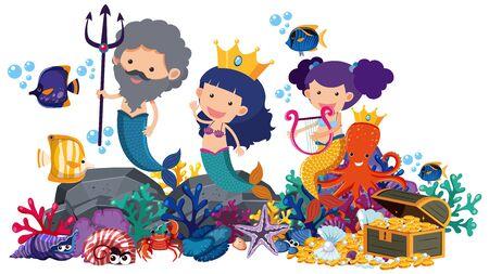 Mermaids and fish underwater on white background illustration