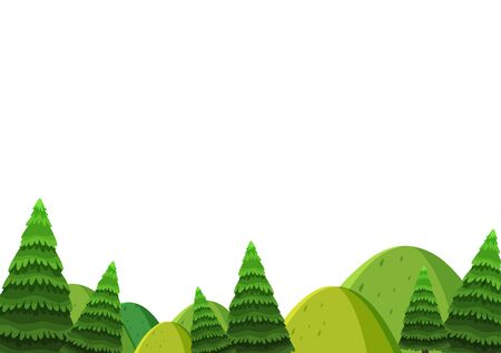 Scenery background of green hills and pine trees illustration