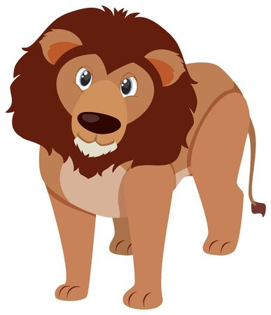 Single character of cute lion on white background illustration