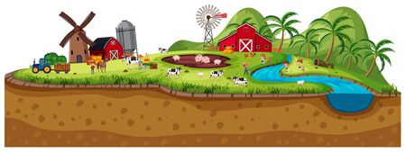 Background scene of farmland with animals illustration