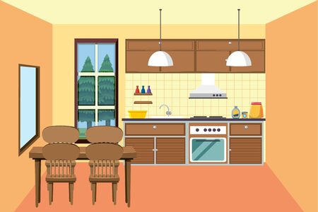 Kitchen with small dining area illustration Vectores