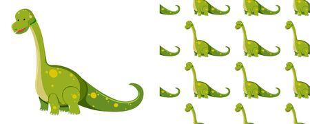 Seamless pattern of dinosaurs on white  illustration