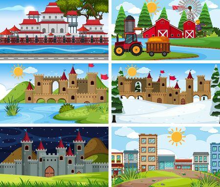 A set of outdoor scene including castle illustration Vector Illustratie