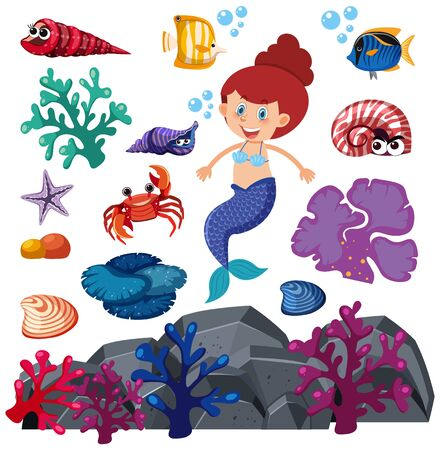Set of isolated mermaid and underwater creatures illustration
