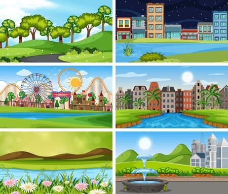 A set of outdoor scene including water illustration  イラスト・ベクター素材