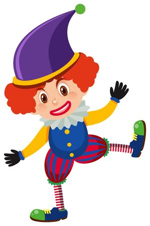 Single character of happy clown on white background illustration