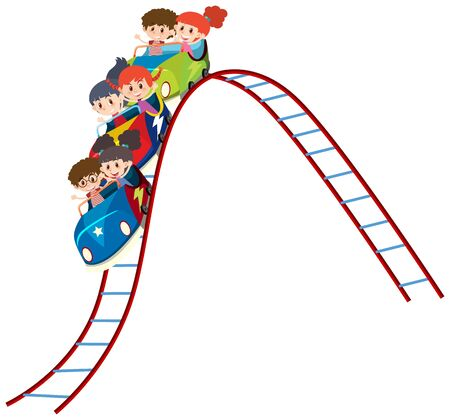 Children riding on roller coaster illustration