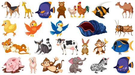 Set of isolated theme wild animals illustration