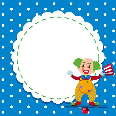 Frame template design with circus clown illustration Illustration