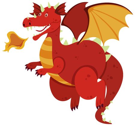 Single character of red dragon on white background illustration Иллюстрация