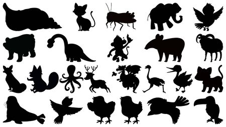 Set of silhouette different animals illustration