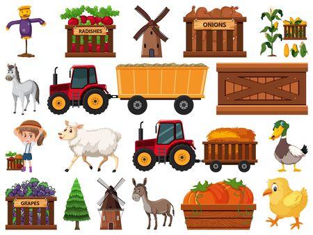 Large set of isolated farm objects illustration Stock Illustratie