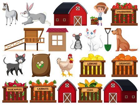 Large set of isolated farm objects illustration Illustration