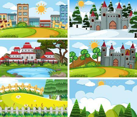 A set of outdoor scene including building illustration