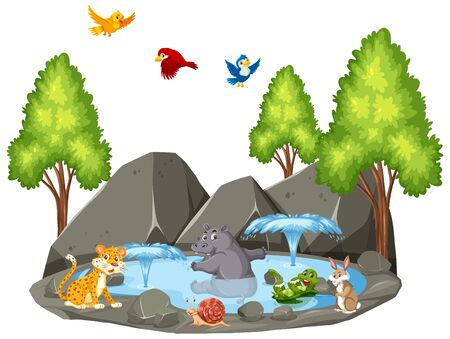 Background scene of wild animals and fountain illustration