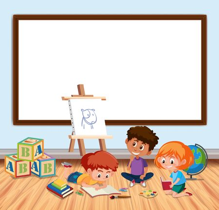 Frame design with board and kids in classroom illustration