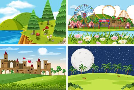 A set of outdoor scene including funfair illustration