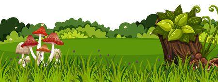 Landscape background with mushroom on green grass illustration 向量圖像