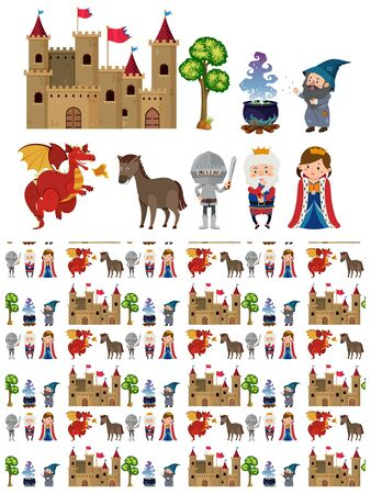 Seamless background design with knight and castle illustration