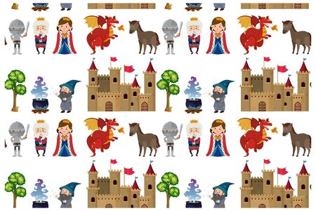 Seamless background design with fairytales characters illustration Иллюстрация